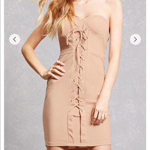 Forever 21 Laced Up Nude Tube dress NWT!!!